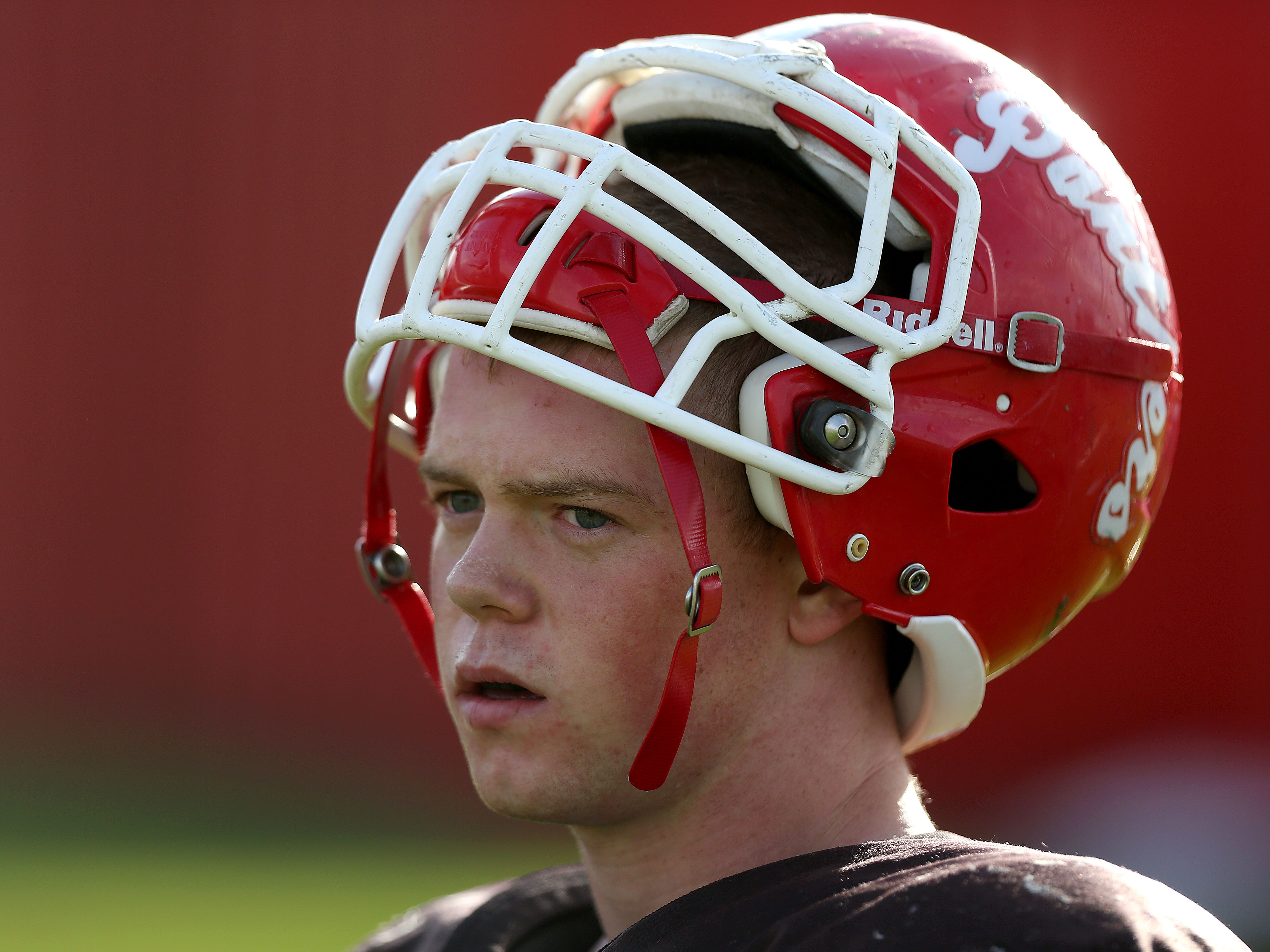 Central High School senior Wesley Riddell leads the state in rushing with 1,500 yards and 20 touchdowns through six games this season. Riddell practices with teammates on Wednesday, Oct. 15, 2014, in Independence.