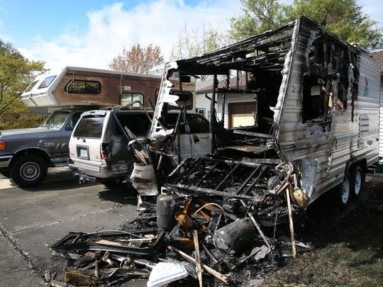 A recreational vehicle was set on fire in an Albany neighborhood near South Albany High School.