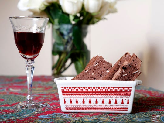 Cookies for the young at heart: Chocolate almond biscotti and Port are photographed Nov. 18, 2014 in Ridgefield, Conn.