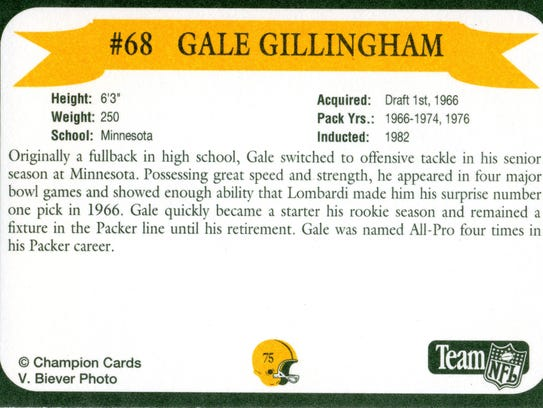 Packers Hall of Fame player Gale Gillingham