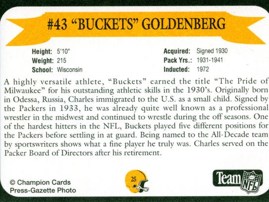 Packers Hall of Fame player Buckets Goldenberg