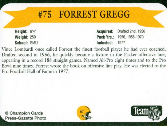 Packers Hall of Fame player Forrest Gregg