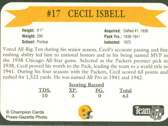 Packers Hall of Fame player Cecil Isbell