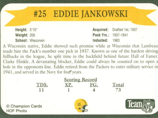 Packers Hall of Fame player Eddie Jankowski