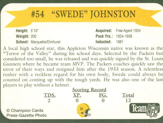 Packers Hall of Fame player Swede Johnston