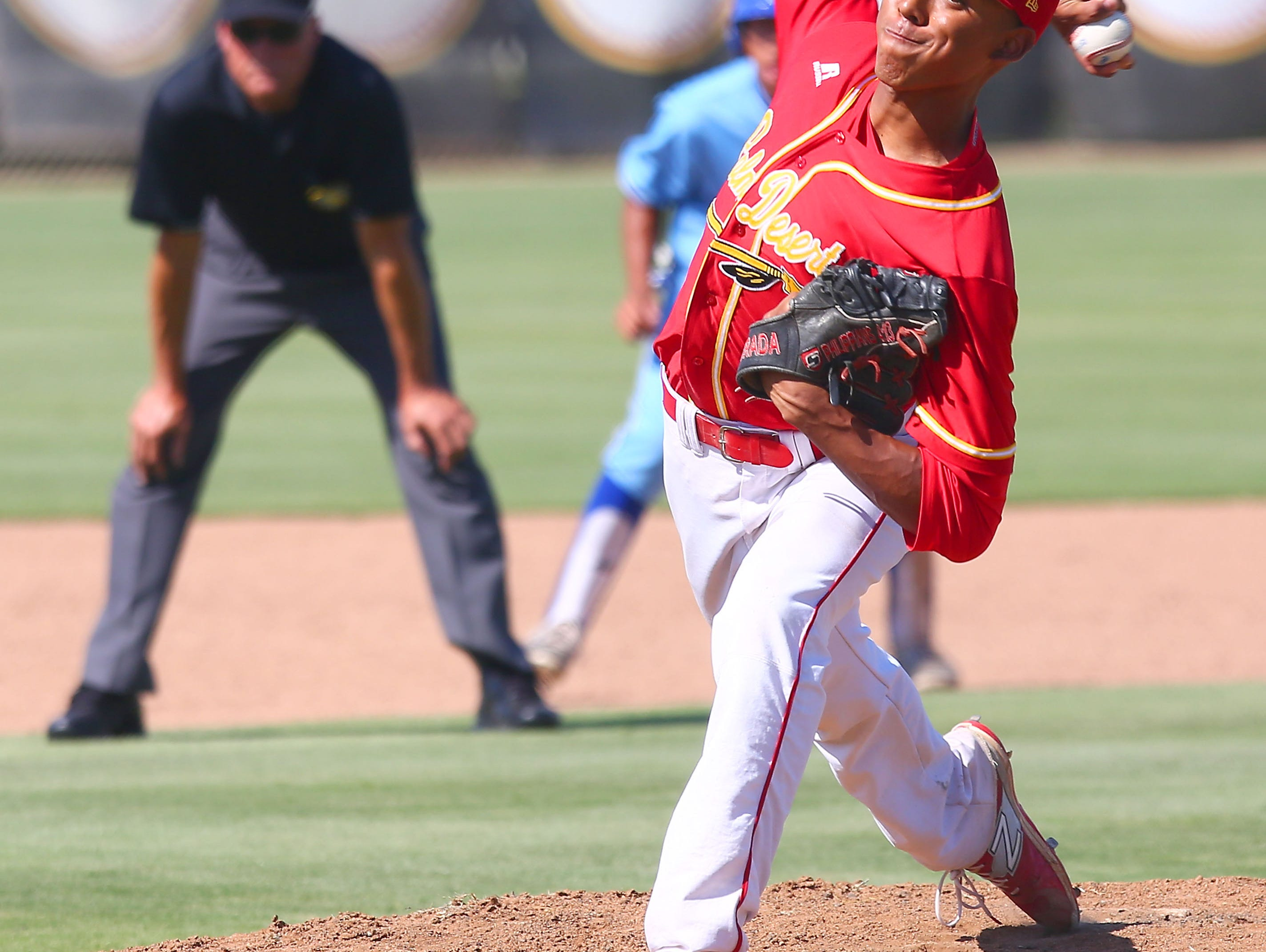 Pitcher Jeremiah Estrada pitches during the Aztec's win over El Segundo, May 27, 2016.