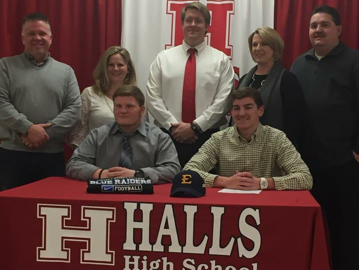 Halls High students sign football scholarships: Jakob Woods with Lindsey Wilson College and Jared White with ETSUS.