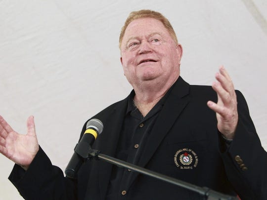 In this June 23, 2012, file photo, Rusty Staub speaks during his induction into the Canadian Baseball Hall of Fame in St. Marys, Ontario. Staub, who became a huge hit with baseball fans in two countries during an All-Star career that spanned 23 major league seasons, died March 29, 2018, in Florida. He was 73.