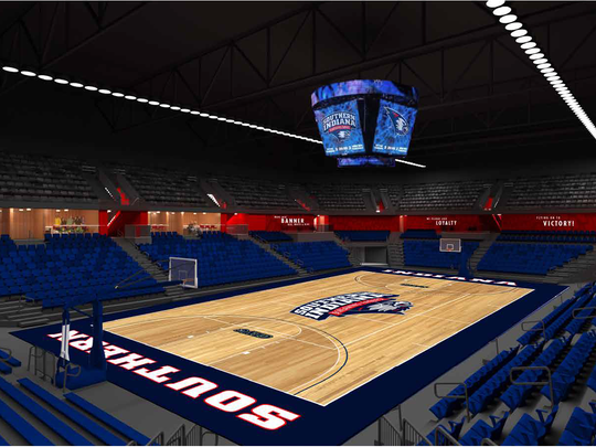 A rendering of the 4,000-seat arena to replace the one at the Physical Activities Center at the University of Southern Indiana.