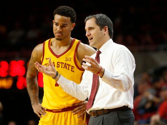 Iowa State head coach Steve Prohm talks with Iowa State