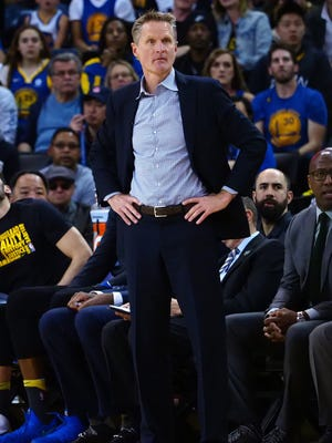 Golden State Warriors head coach Steve Kerr on the sideline against the San Antonio Spurs during the first quarter at Oracle Arena.