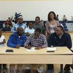 Tyontae Robertson signed with Panola (Texas.) College this morning at Chase Elementary.