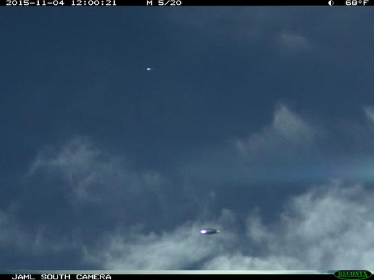 This photo, taken by a Tribune camera from an image provided by Dr. Richard O'Connor, shows an unidentified flying object he says was captured by his cameras on Nov. 4 at his Clancy home.