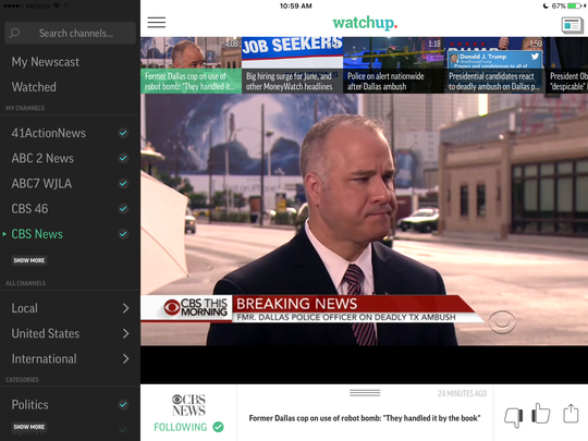 A screen grab from the Watchup app news on tablet.