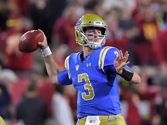 FILE - In this Saturday, Nov. 18, 2017 file photo, UCLA quarterback Josh Rosen passes during the first half of an NCAA college football game against Southern California in Los Angeles. UCLA quarterback Josh Rosen is skipping his senior season to enter the NFL draft.  Rosen made the expected announcement Wednesday, Jan. 3, 2018 with a post on Twitter. He is expected to be a high first-round pick in April.