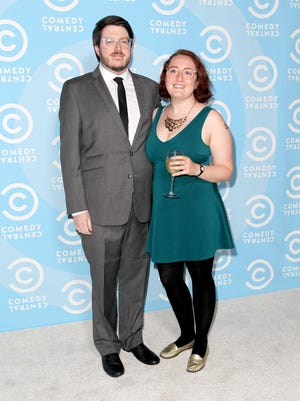 Emily Heller, along with Peter Miller, attends the Comedy Central Emmys after party at Boulevard3 on September 20, 2015.