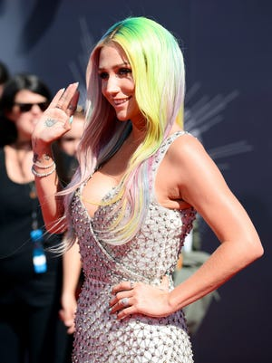 Kesha arrives at the MTV Video Music Awards  on Aug. 24 in Inglewood, Calif.