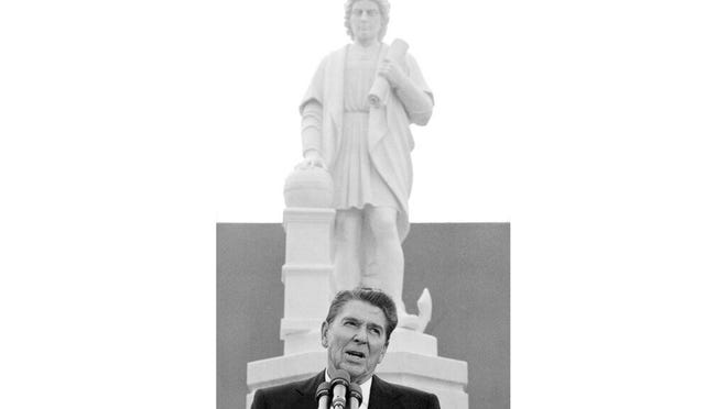 President Ronald Reagan addresses a ceremony in Baltimore, to unveil a statue of Christopher Columbus in 1984. On Saturday, Baltimore protesters pulled down the statue and threw it into the city's Inner Harbor.