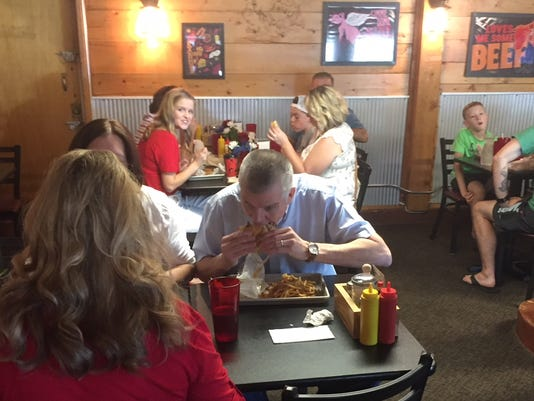 Matt Rosendale Commander in Beef burger Trump rally Roadhouse Diner