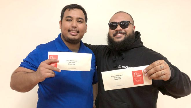 Gregory Borja, left, is the June Pin Point Guam King of the Lanes whileDominic Uson is the June Pin Point Guam Prince of the Lanes.