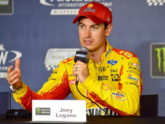 Monster Energy NASCAR Cup Series driver Joey Logano speaks with reporters Friday to preview the Pure Michigan 400 taking place Sunday at Michigan International Speedway in Brooklyn.