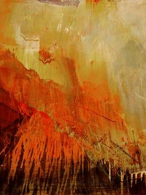 "James Lavadour, ""Tiger,"" 2016, oil on panel, 32 x 28."""
