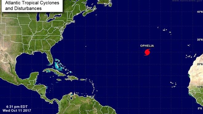 Hurricane Ophelia. 5 p.m., Oct. 11, 2017.