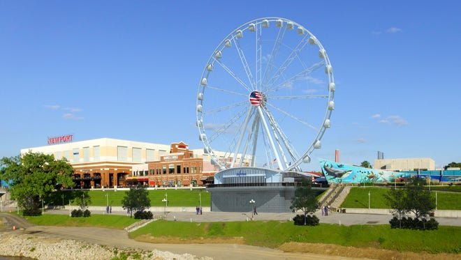 A rendering of the planned SkyWheel Newport at Newport on the Levee. The more than $10 million project still needs U.S. Army Corps of Engineers approval.
