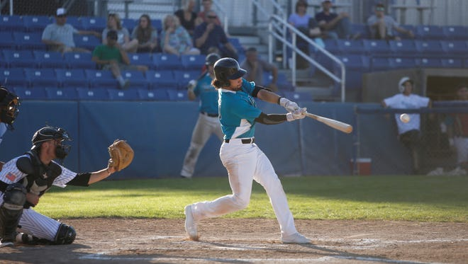 David Ortega, seen here batting against the Greeley Grays in Saturday's game at Ricketts Park, is helping the Farmington Frackers' offense right away because of his approach against outside pitches.