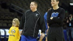 Donnie Tyndall and Wade O'Connor during their tenures at Morehead State.