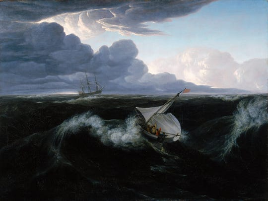 """Washington Allston painted """"Rising of a Thunderstorm at Sea"""" in 1804. This painting hangs next to a seascape by Martin Johnson Heade, showing how Heade deviated from other painters at the time."""