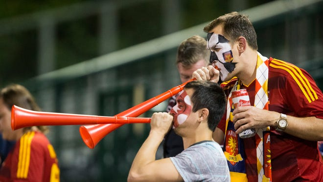 Arizona United fans cheer for their team against Chula Vista F.C. during the U.S. Open Cup second-round game at Scottsdale Stadium May 20, 2015. Chula Vista won 3-0.