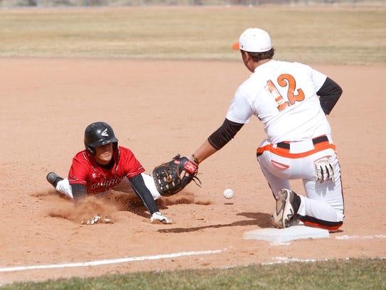 Durango's Gavin Mestas retreats back to first base