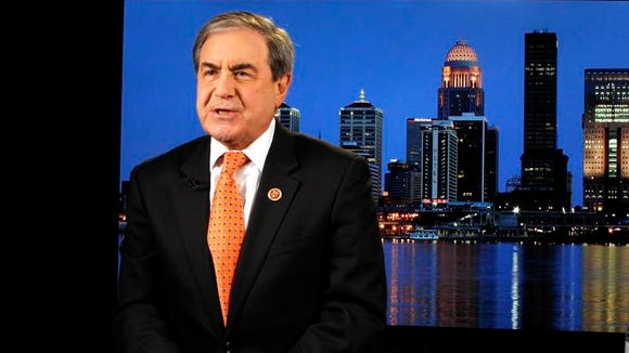 U.S. Representative John Yarmuth D-KY, gets ready before going on TV with Chris Hayes of MSNBC at the Broadway Digital Studio in Louisville, Kentucky. November 25, 2013