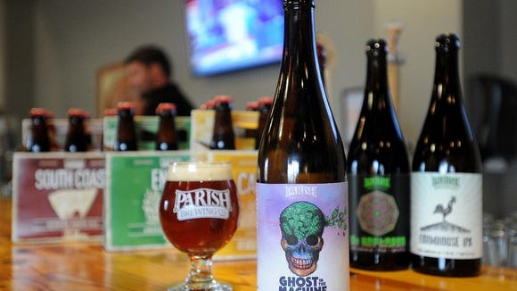 A bottle of Parish Brewing Company's Ghost in the Machine