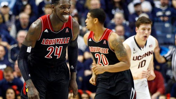 Montrezl Harrell heads happily upcourt in the first half, when he was unstoppable. The 6-foot-8 sophomore finished with 18 points, 13 rebounds and three blocks.