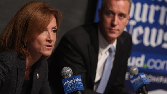 Nan Hayworth, R-Bedford, and Rep. Sean Patrick Maloney, D-Cold Spring, debate local issues with The Journal News Editorial Board on Oct. 18, 2012.