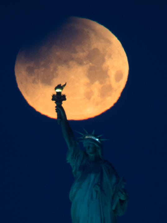 Supermoon with Statue of Liberty