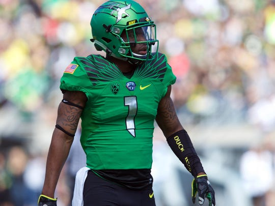 May 2, 2015; Eugene, OR, USA; Oregon Ducks defensive back Arrion Springs (1) walks on to the field at Autzen Stadium. Mandatory Credit: Scott Olmos-USA TODAY Sports