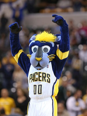 Indiana Pacers mascot Boomer gets the crowd involved late in the game against Dallas Mavericks at Bankers Life Fieldhouse Saturday October 18, 2014. The Pacers won 98-93.