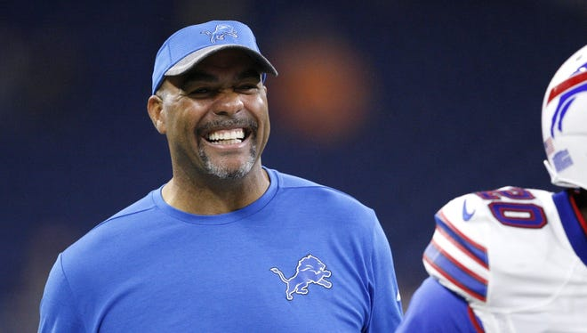 Lions defensive coordinator Teryl Austin smiles before a game against the Bills on Sept. 1, 2016.