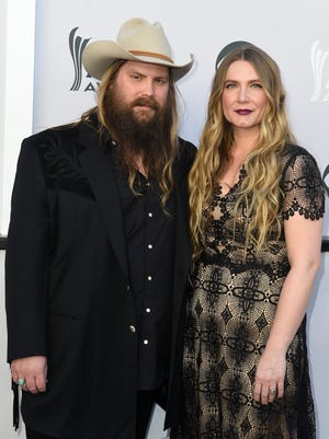 Chris Stapleton, left, and wife Morgane during the 52nd Academy of Country Music Awards red carpet at T-Mobile Arena on Sunday, April 2, 2017, in Las Vegas, Nev.