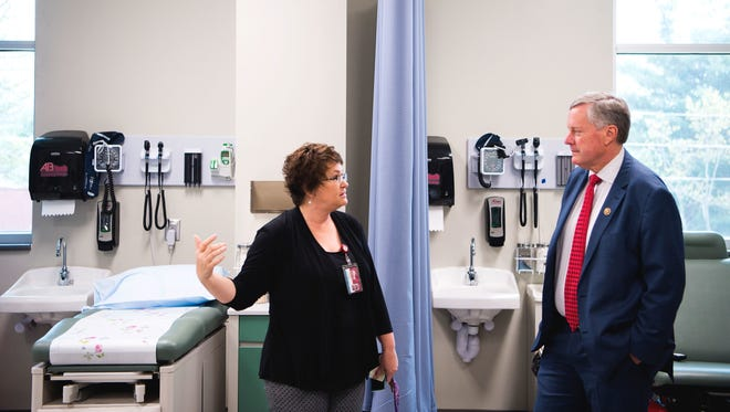 Along with Dean of Allied Health Dolly Horton, U.S. Rep. Mark Meadows, R-Buncombe, tours the new Ferguson Center for Allied Health and Workforce Development Thursday at Asheville-Buncombe Technical Community College