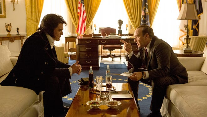 "Michael Shannon (left) and Kevin Spacey in ""Elvis and Nixon."""