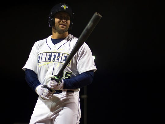 Columbia Fireflies outfielder Tim Tebow (15) reacts during the eighth inning against the Augusta GreenJackets at Spirit Communications Park. Fireflies won 14-7.