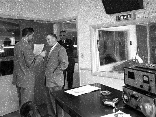 The KBZY radio studio is seen on its first day on the air, May 1, 1957.