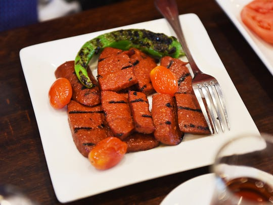 A dish of Sucuk is seen on the table at Toros in Paterson