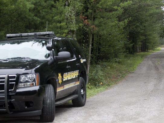 A Wood County Sheriff's Department vehicle sits in