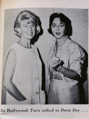 Taris Savell has always seemed to have a talent for getting interview with national or international celebrities. In a magazine clipping from a story on Taris herself she is shown interviewing Doris Day, left.