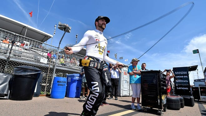Verizon IndyCar Series driver James Hinchcliffe (5) jumps rope on pit lane before practice for the Grand Prix of St. Petersburg at streets of St. Petersburg.